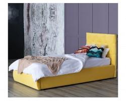 Детская кровать Мягкая Selesta 900 желтая с подъемным механизмом матра