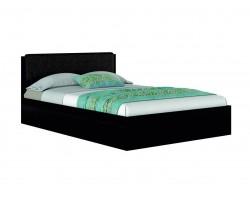 """Кровать с кожаным изголовьем """"Эко узор&; 160.(Венге)"""