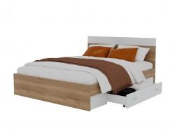 """Кровать """"Диана&; 1600 с 2 ящиками (дуб золотой/белый)"""