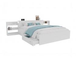 Кровать с матрасом Доминика блоком и ящиками 160 (Белый) АСТРА