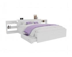 Кровать Доминика с блоком и ящиками 140 (Белый) матрасом АСТРА