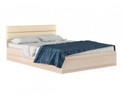 """Кровать """"Виктория МБ&; 1400 дуб с мягким изголовьем"""