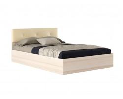 """Кровать """"Виктория ЭКО-П&; 1400 дуб с изголовьем кожи"""