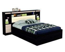 Кровать Виктория 1400 с изголовьем кожи, блоком тумбами