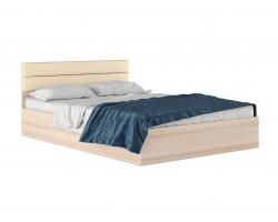 """Кровать """"Виктория МБ&; 1400 с мягким изголовьем кожи"""