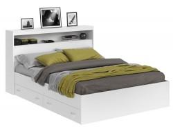 Кровать Виктория белая 160 с блоком и ящиками