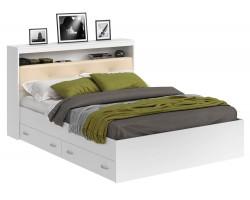 Кровать Виктория ЭКО-П белая 140 с блоком и ящиками матрасом Г