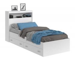 Кровать Виктория белая 90 с блоком, ящиками и матрасом ГОСТ