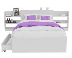 Кровать Доминика с блоком и ящиками 120 (Белый) матрасом АСТРА