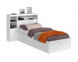 Детская кровать Виктория белая 90 с блоком и 1 тумбой