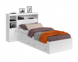 Детская кровать Виктория белая 90 с блоком, 1 тумбой, ящиками и матрасом
