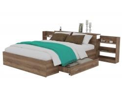 Кровать Доминика с блоком и ящиком 160 (Дуб Золотой)