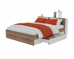 Детская кровать Доминика с блоком и ящиками 140 (Дуб Золотой/Белый)
