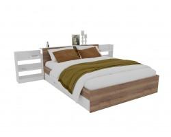 Кровать Доминика с блоком и ящиками 140 (Дуб Золотой/Белый)
